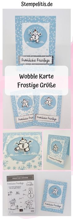 Wobble card Frosty greetings - with video tutorial - Weihnachten Stampin Up Christmas, Christmas Snowman, Christmas Cards, Christmas 2019, Xmas Crafts, Baby Crafts, Slider Cards, Snowman Cards, Christmas Catalogs
