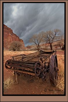 An old wagon photographed near Capitol Reef National Park in Utah by superb landscape photographer Yoshi Shioya. Capitol Reef National Park, National Parks, In The Air Tonight, Old Wagons, Into The West, Going On A Trip, Old West, Landscape Photographers, Nature Pictures