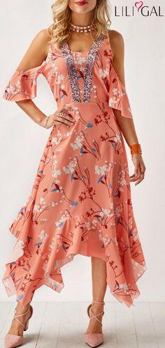 Pastel Orange Asymmetric Hem Printed Cold Shoulder Dress   #liligal #dresses #womenswear #womensfashion