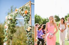 flower garland-covered altar and bridesmaids Amsale Bridesmaid, Bridesmaids, Bridesmaid Dresses, Floral Garland, Flower Garlands, Fall Flowers, Wedding Flowers, Coral Wedding Colors, Outdoor Wedding Inspiration