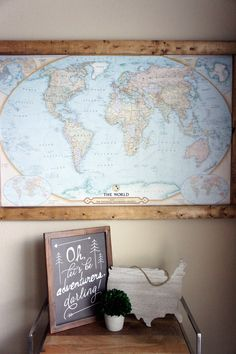 This cork pin board travel map will only help to fuel your desire to see the rest of the world and it's an extremely simple weekend DIY project.