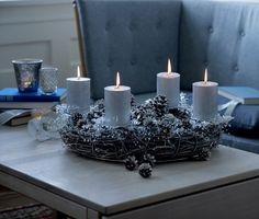 silberner Adventskranz-Zapfen basteln