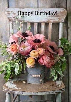 Flowers Beautiful Bouquet Inspiration 24 Ideas For 2019 Happy Birthday Flower, Happy Birthday Cards, Birthday Greetings, Birthday Wishes Flowers, Happy Birthday Beautiful, Ranuculus Bouquet, Ranunculus, Wedding Bouquets, Wedding Flowers