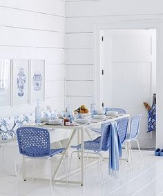 blues and white