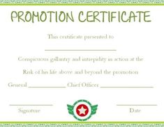 army officer promotion certificate template