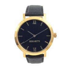 A sustainable take on the classic timepiece. Featuring a gold stainless steel case, with a black face, gold markers and a sustainable black leather band that. Black Gold, Black Leather, Sustainable Textiles, Leather Scraps, Sell Gold, Watch Faces, Slow Fashion, Stainless Steel Case, Quartz