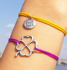 Four Leaf Clover Bracelet Good Luck Clover, Good Luck Bracelet, Baby Pigs, Four Leaf Clover, Cord Bracelets, Friendship Bracelets, Charmed, Unique Jewelry, Handmade Gifts