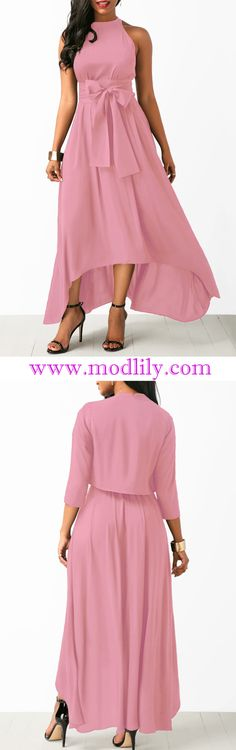 0b5dee743749 High Low Pink Belted Dress and Cardigan On Sale At Modlily! Fashion and  cute dress at Modlily. Shop it now!