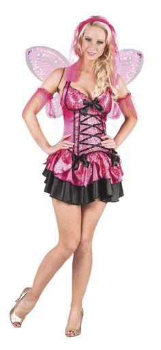 Disfraz hada rosa y negra brillante mujer: Este disfraz de hada para mujer incluye diadema, vestido, alas y brazaletes (zapatos no incluidos).La diadema es blanca con tul rosa.El vestido es corto y ajustado y de color rosa. La parte superior...