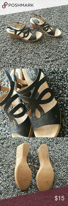 b.o.c. wedged sandles. Size 8.5 wedged sandles. Damage shown in pictures. b.o.c. Shoes Sandals