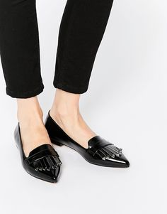 Black Fringed Flats - $45