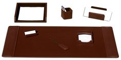 upto 65% off  Chocolate Brown Leather 7 Piece Desk Set http://woodartsuniverse.com/catalog/product_info.php?cPath=42&products_id=191