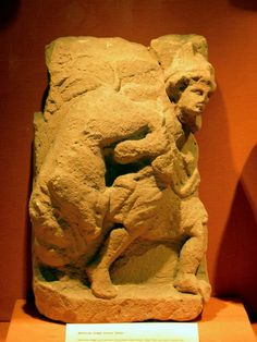 Mithras dragging away the bull, found in the Mithraeum I at Stockstadt, Saalburgmuseum, Saalburg Roman Fort, Limes Germanicus, Germania (Germany)