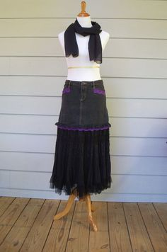 Bewitching Black Denim Jean and Broomstick Skirt by FairfaxDavis, $25.00