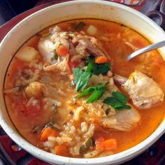 Mexican Caldo de Pollo Or Chicken Soup Mexican Style is a beautiful recipe of heart warming soup that will make you and your family very happy. The combination of simple ingredients, the rice, the cilantro and the chicken drumsticks make the soup a comfort meal.