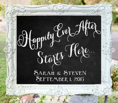 """Happily Ever After Starts Here"" with names & date"