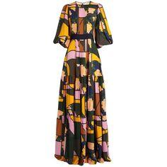 Roksanda Aubert floral-print silk-georgette dress ($2,390) via Polyvore featuring dresses, flower print dress, roksanda dress, pleated dress, abstract dress and pattern dress