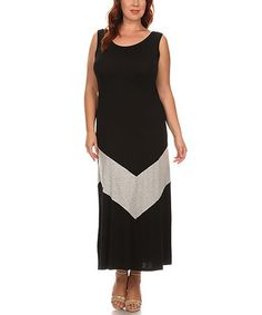Loving this Black & Gray Chevron Maxi Dress - Plus on #zulily! #zulilyfinds