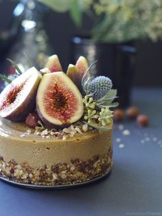 Fig Hazelnut Caramel Cake (No Bake, Fruit-Sweetened, and Free From: gluten & grains, dairy, coconut, added oils, refined sugar)