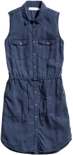 H&M - Lyocell Dress - Dark blue - Ladies: so cute with leggings and boots this fall! Click to view pricing and buy!
