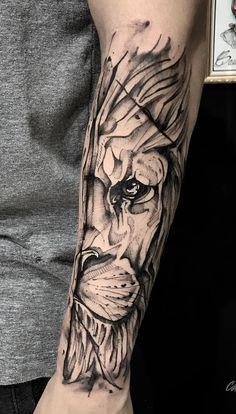 Lion Head Tattoos, Forarm Tattoos, Leo Tattoos, Black Ink Tattoos, Body Art Tattoos, I Tattoo, Sleeve Tattoos, Tatoos, Tattoo Sketches