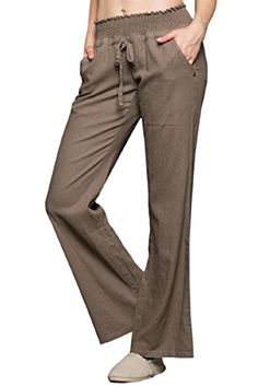 be57c8664b35 Sportoli Women's Comfy Drawstring Smocked Waist Linen Pants with Pockets  Korean Fashion Casual, Linen Pants