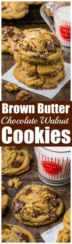 Gooey Brown Butter Walnut Chocolate Chunk Cookies with Sea Salt | Baker By Nature | Bloglovin'