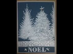 Make a beautiful Christmas card with Pine Tree Stamps http://www.dinglefoot.com/inkadinkado-christmas-evergreen-tree-wood-mounted-rubber-stamp/ and Winter Wo...