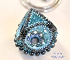 Держатель-зажим и серьги АКВА, держатель, зажим, для шарфа, для платка, бисер, бусины, синий, голубой, sokoliss Beaded Rings, Beaded Jewelry, Beaded Necklace, Jewellery, Scarf Rings, Scarf Jewelry, Bracelet Tutorial, Beading Tutorials, Bead Weaving