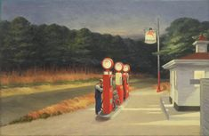 "Edward Hopper (1882-1967)  Gas, 1940 ~  The light in this painting—both natural and artificial—gives the scene of a gas station and its lone attendant at dusk an underlying sense of drama. But rather than simply depicting a straightforward narrative, Hopper's aim was ""the most exact transcription possible of my most intimate impressions of nature""—in this case, the loneliness of an American country road."