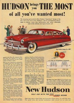 The 1949 Hudson. Hugeness, fastness, and ugliness. Bonus: the trunk that will accommodate two dead bodies comfortably