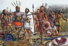 This illustration depicts some of the various troops of Hannibal's army in Rome. Libyan javelineers mostly with a Samnite/Italian ally second from the left, an Iberian, possibly from the Baeleric islands and a Celtic standard can be seen in the left background.