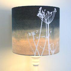 HANDMADE // lamp shade / cow parsley screen print / blue ombre / dip dyed / organic linen via Etsy