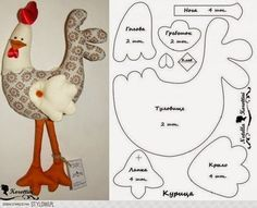 Pin Chris Davis na szycie / Rzemiosło Plushie Patterns, Felt Patterns, Sewing Patterns, Farm Crafts, Easter Crafts, Sewing Toys, Sewing Crafts, Chicken Pattern, Chicken Crafts
