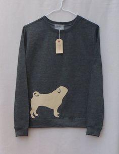 Leather Pug Jumper Dark Grey Heather Lightweight Crew Neck Sweatshirt on Etsy, $62.93 AUD