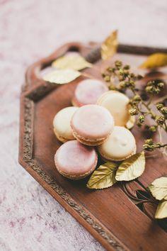 Pink & gold macarons