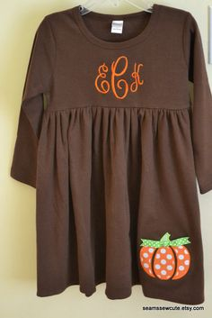 Monogrammed Pumpkin Applique Dress - Great for Fall, Halloween and Thanksgiving. $32.00, via Etsy.