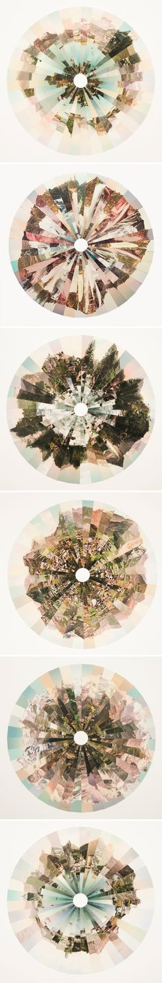 "Fractured landscapes that look, to me, like delicate pastel irises.This is the work of UK based photographer Liz Orton, from Deltiologies – ""a series of collages that both celebrates and challenges the tradition of landscape photography. Collages D'images, Collage Art, Photo Collages, Digital Collage, Photomontage, Landscape Photography, Art Photography, Art Plastique, Abstract Landscape"