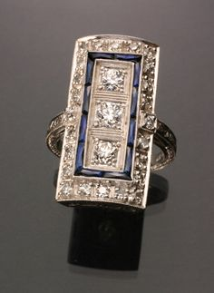 Art Deco Platinum, Diamond and Synthetic Blue Sapphire Dinner Ring -  Circa 1930
