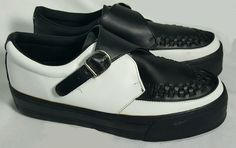 TUK black & white side strap creepers mens 11 womens 13 punk goth rockabilly  #TUK