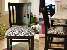 How to Reupholster a Chair (this is great for boring ikea chairs or ripped barstools!)