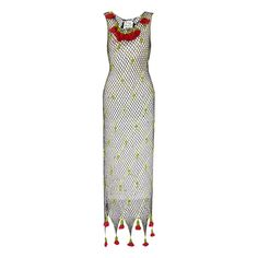 1990's Moschino Cheap and Chic Crochet Roses Dress | From a collection of rare vintage evening dresses and gowns at https://www.1stdibs.com/fashion/clothing/evening-dresses/