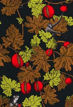 Frutto Proibito (77/12045) - Cole & Son Wallpapers - A witty riotous mix of red pomegranates with brown and lime green leafed vines through which mischievous black and white etched monkeys cavort on a chocolate brown background. Please ask for sample for colour match. $137