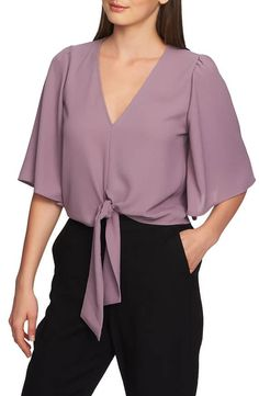 1 STATE Brand of my lavender blouse with big sleeves to go with Blair skirt Tie Front Blouse, Front Tie Top, Ruffle Blouse, Cheap Womens Tops, Casual Outfits, Fashion Outfits, Ladies Dress Design, Blouses For Women, Ladies Blouses