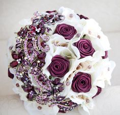 Brooch bouquet Ivory and burgundy wedding by MagnoliaHandmade