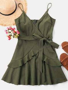 Ruffle Mini Cami Dress. Your go-to dress for summer events. This moderate midi dress is suspended by slender shoulder straps and embellished with a row of contrasting buttons down the center front. Its large, opaque patch pockets add extra convenience to this bright sundress. #Zaful #Zaful4th #Dress