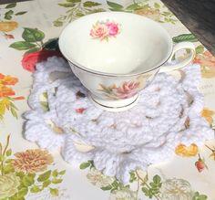 Crochet Lace Coasters Doilies Vintage Elegant Flowers | Etsy Crochet Doilies, Crochet Lace, Custom Coasters, Anything Is Possible, Elegant Flowers, Tea Party, Delicate, Creative, Pretty