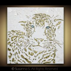 Original Large abstract contemporary leopard painting white bronze gold palette knife impasto fine art by Susanna 24x24 - MADE TO ORDER