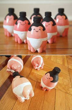 Sumo Bowling Pins: Kids will have a ball with these sumo bowling pins, made from painted plastic bottles. Source: Sugar and Dots So f-ing cute!