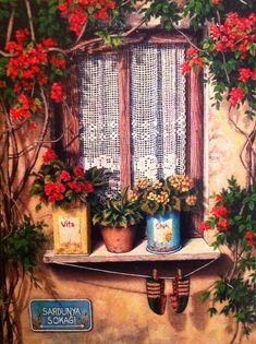 oil painting .[.günseli kapucu]...Windows and lace curtains..houses#flowers